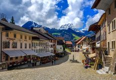 gruyeres老瑞士城镇 免版税图库摄影