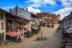 gruyeres老瑞士城镇 免版税库存图片