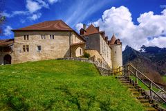 Gruyeres,弗里堡小行政区,瑞士城堡  免版税库存照片