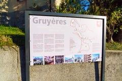 Gruyeres,瑞士- 2017年10月18日:城市的地图 免版税库存图片