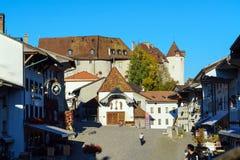 Gruyeres, Швейцария - 18-ое октября 2017: Средневековые замок и ol Стоковые Изображения RF