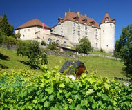 Gruyeres Castle. The medieval castle of Gruyères, Switzerland, famous for its cheese Stock Photos