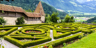 Gruyeres Castle, the French garden behind the chateau surrounded by ramarts. Gruyeres Castle, the French garden behind the chateau surrounded by ram arts stock photos