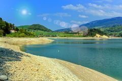 Gruyeres lake in summer, Fribourg canton, Switzerland Royalty Free Stock Photography