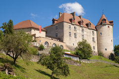Gruyeres-Schloss lizenzfreie stockfotografie