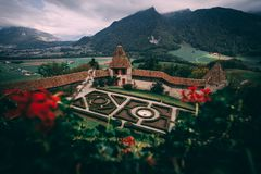 GRUYERES, SWITZERLAND - SEPTEMBER 5, 2018: The gardens of castle Gruyeres in Switzerland royalty free stock images