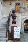 GRUYERES, SWITZERLAND - SEPTEMBER 08: H.R. giger museum, with several sculptures displayed around the entrance - September 08, 201 Royalty Free Stock Photo
