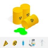 Gruz energia atomowa Niebezpieczeństwa napromienianie Płaska 3d Wektorowa isometric ilustracja ilustracja wektor