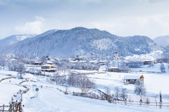 Gruzińska wioska pod śniegiem Fotografia Stock