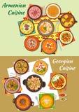 Gruziński i armenian kuchnia gość restauracji rozdaje ikonę Zdjęcie Stock