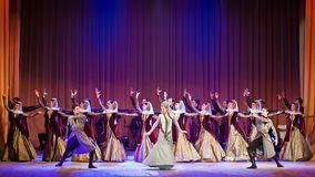 Gruziński Krajowy Baletniczy Sukhishvili, światów sławni tancerze przy koncertem w Vinnytsia, Ukraina zdjęcie stock