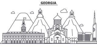 Gruzja architektury linii linii horyzontu ilustracja Liniowy wektorowy pejzaż miejski z sławnymi punktami zwrotnymi, miasto widok ilustracji