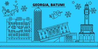 Gruzja, Batumi zima wakacji linia horyzontu Wesoło boże narodzenia, Szczęśliwy nowy rok dekorowali sztandar z Święty Mikołaj Gruz ilustracja wektor