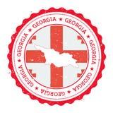 Gruzja flaga w rocznik pieczątce i mapa Zdjęcia Royalty Free