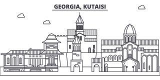 Gruzja, Kutaisi linii linii horyzontu wektoru ilustracja Gruzja, Kutaisi liniowy pejzaż miejski z sławnymi punktami zwrotnymi, mi ilustracja wektor