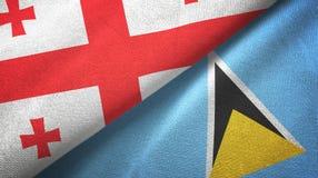 Gruzja Lucia i święty dwa flagi tekstylny płótno, tkaniny tekstura ilustracji