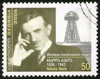 GRUZJA - 2006: przedstawienia Nikola Tesla 1856-1943, nowator zdjęcia stock