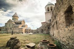Gruzja, wino, monaster Obrazy Royalty Free