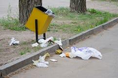 Gruzy rozpraszają wokoło śmieciarskich koszy Zdjęcie Stock