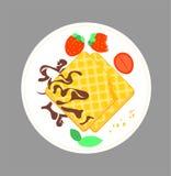 Gryźć crispy gofry z czekoladą i truskawką na spodeczku Ilustracja łasowanie dla śniadaniowego opłatkowego ciastka Wektorowy dese ilustracji