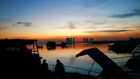 Gry i hamnen, Muara Angke, Jakarta, Indonesien arkivbilder