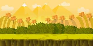 Gry jesieni parka 2d krajobraz z wzgórzami, wektorowa ilustracja Zdjęcia Stock