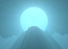 Góry księżyc w pełni światła odgórny raca Obrazy Stock