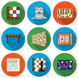 Gry planszowa ustawiać ikony w mieszkanie stylu Dużych inkasowych gier planszowa symbolu zapasu wektorowa ilustracja Zdjęcia Stock