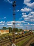 Gryazi, Россия - 12-ое августа 2018 Груз сортируя железнодорожный вокзал Gryazi-Волгоград юговосточной железной дороги Стоковое фото RF