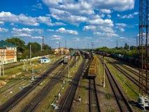 Gryazi, Rusia - 12 de agosto 2018 carga que clasifica el ferrocarril suroriental de Gryazi-Stalingrad del ferrocarril Fotos de archivo libres de regalías
