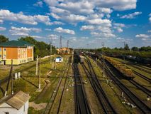 Gryazi, Russia - Aug 12. 2018. Cargo sorting railway station Gryazi-Volgograd Royalty Free Stock Photo