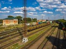 Gryazi, Russia - Aug 12. 2018. Cargo sorting railway station Gryazi-Volgograd Royalty Free Stock Photos