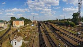 Gryazi, Russia - Aug 12. 2018. Cargo sorting railway station Gryazi-Volgograd of South-East Railway Royalty Free Stock Photos