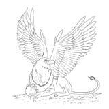 Gryfa nakreślenia kreskówki doodle wektoru czarny i biały ilustracja Fotografia Royalty Free