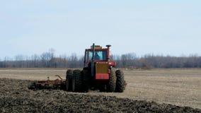 GRYGLA, MN - 02 NOV. 2019: Rode landbouwbedrijftractor die landbouwer trekken die zwarte grond op gebied na oogst van sojabonen v stock footage