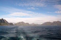 Gryllefjorden和Torskefjorden,塞尼亚岛,挪威 图库摄影
