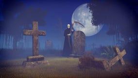 Grym skördemaskin på den spöklika nattkyrkogården Royaltyfria Bilder