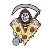 Grym skördemaskin som river en pizza stock illustrationer