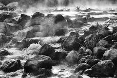 Gryning över att rusa floden Fotografering för Bildbyråer