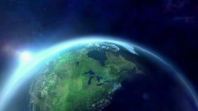 Gryning över planetjorden stock video