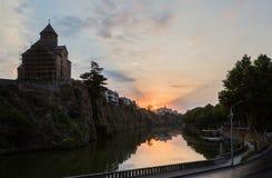 Gryning i den gamla staden av Tbilisi Fotografering för Bildbyråer