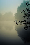 Gryning i Goldsworth parkerar att woka Surrey England på den dimmiga sjön i D Arkivfoton