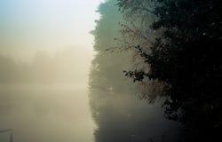 Gryning i Goldsworth parkerar att woka Surrey England på den dimmiga sjön i D Royaltyfria Bilder