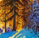 Gryning i vinterskogsoluppgången av en varm gul sol i ett kallt landskap för vinter för blåttvinterskog Stora julgranar Pos. Royaltyfri Bild