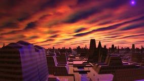 Gryning och ufo över staden av främlingar royaltyfri illustrationer