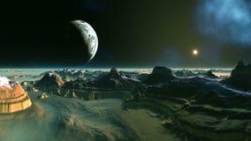 Gryning på den främmande planeten vektor illustrationer