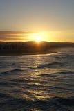 Gryning på den Newport stranden, Kalifornien Arkivbilder