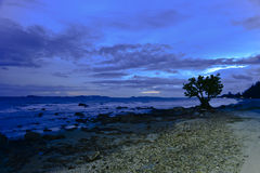 Gryning på den steniga stranden Arkivbild