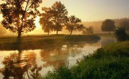 Gryning på floden Arkivfoto