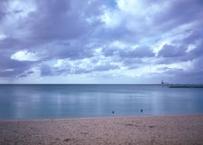 Gryning på Okinawa Cape Busena arkivbild